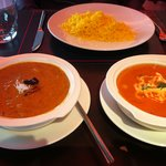 mediocre chicken tikka masala(butter chicken) and Prawn curry