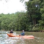 Kayaking back down the river