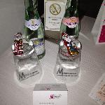 Free mineral water and chocolate Santas
