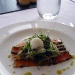Smoked salmon and quail's egg starter
