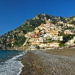 Looking up to Positano from the beach