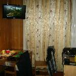 Television and small table in room