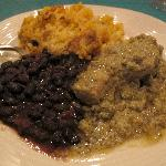 chicken mole, black beans and rice