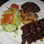 Enjoyed mixed grill of beef, chicken & lamb at La Plaza Grill Restuarant behind the hotel