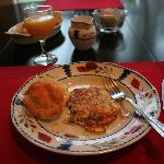 Crab omelets and biscuits- yummy!