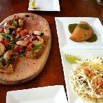 flatbread, empanada and fish tacos.