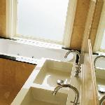 Golden Room bathroom with separate shower and zacuzzi