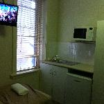 The small kitchenette area