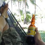 Enjoying a Pacifico in the hammock at Casita #5