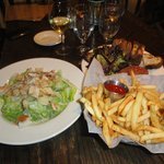caesar salad with chicken and tartare with fries