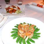 scallop and snow peas