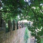Castellated battlements in the garden