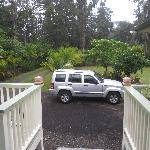 Looking out from the lanai.  There is a parking space for the B&B guests.