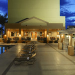 Outdoor Pool and Spa Deck by Night