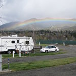 Yreka RV Park - Rainbow over Yreka, view from park