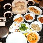 Steamed dumplings and the sides served w/ our meal.