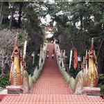 Naga staircase at Doi Suthep Temple.