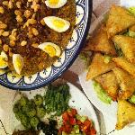 Briouats, trid, monkfish tagine and salads