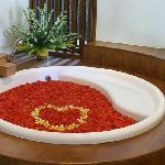 Rose petal bath tub