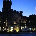The front of the Castell on a winter's evening