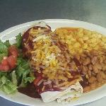 Delicious Red Chile Burrito with Beans and Pasole