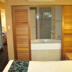 view from bed area into bathroom, no separate door to toilet far left