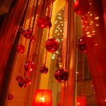 Christmas Decorations in the window of Cafe Red Rose