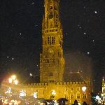 Christmas Market and Bell tower in the snow