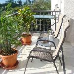Balcony with bistro table, fold down balcony table