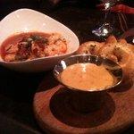 shrimp & grits with  & warm tasty pretzel w/cheese sauce