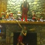 The fireplace and the Christmas moose