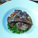 Yeringberg milk-fed lamb, slow roasted on the bone with Jerusalem artichoke, garlic & peas