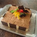A summer Tiramisu served on the platter provided by the restaurant