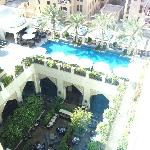 View from 7th floor looking over hotel pool and restaurant courtyard