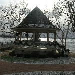 The Gazebo by the lake during a snow shower