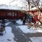 Red Lantern Courtyard in Winter