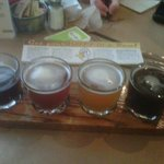 Sampler of the four beers currently on tap.