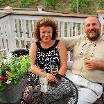 Sergio & Violetta Neri toasting their Pinot Grigio whose net proceeds goes towards autism resear