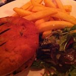 veggie burger and chips at the Tron