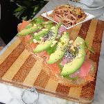 Salmon on Rye Bread with Wasabi Mayo & Avo