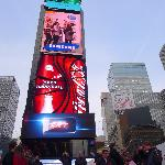 The red step platform for better views of Time Square