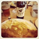 Haddock and Chips, (with added Curry Sauce), plus a bottle of Black Sheep