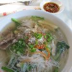 Khmer noodle soup during breakfast