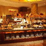 Bread section of breakfast buffet