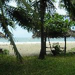 Vista de la playa desde la puerta del hotel