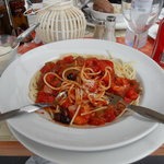 fav dish spaghetti with king prawns