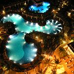 Pool at night, seen from our room