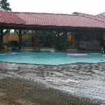 Swimming pool at haevy rain fall
