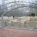 the ruins under a glass dome for protection