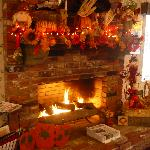 Reception/Dining Area Fireplace decked out for Halloween